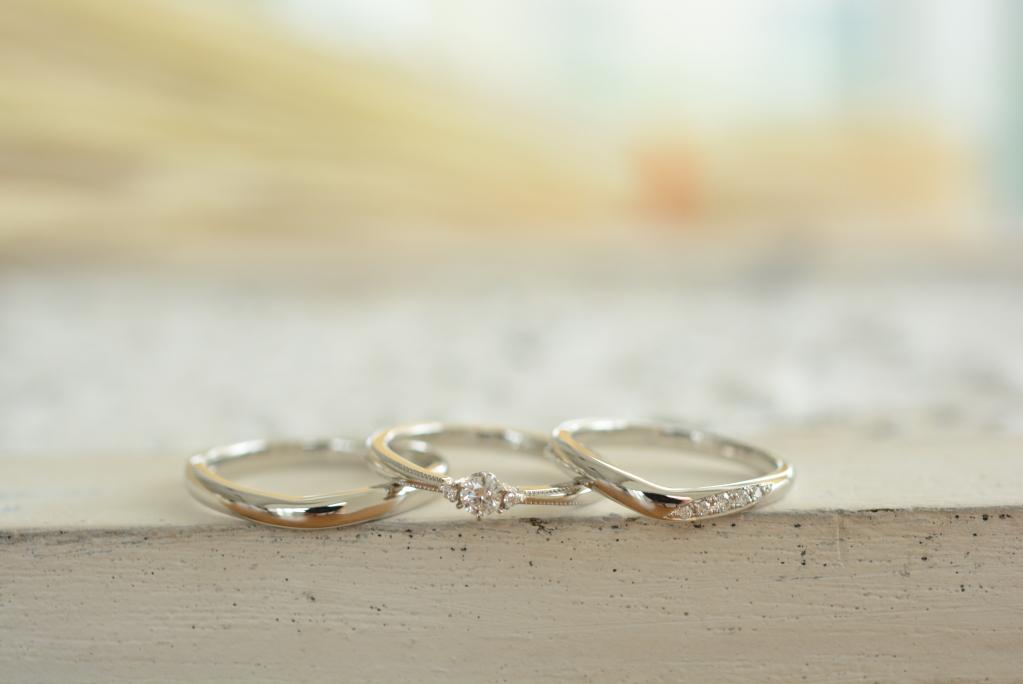 婚約指輪 結婚指輪 センターダイヤ 連続彫留め ダイヤモンド