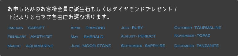 お申し込みのお客様全員に誕生石もしくはダイヤモンドプレゼント!下記より3石をご自由にお選び頂けます。